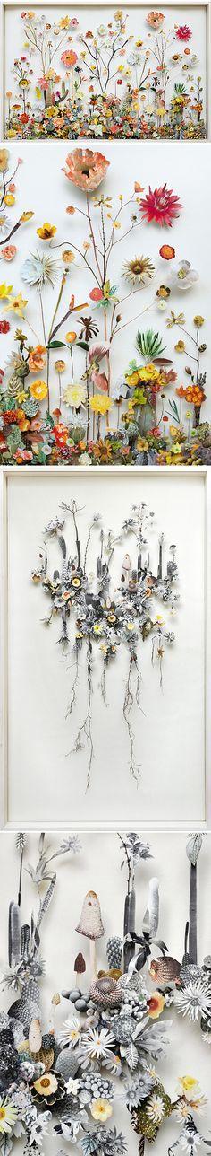 'Flower Constructions' paper-cut collage series of pinned plants & flowers by Utrecht based artist Anne Ten Donkelaar | via The Jealous Curator ♥️≻★≺♥️