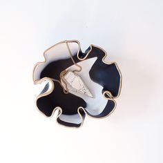 Handmade Clay Bowl by Le Numinous. Black, indigo, grey and white marbled swirls with silver metallic rim. Perfect to store jewellery, makeup, small bits and bob