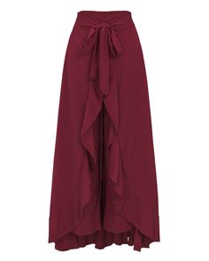 MODARESS Women Summer Split High Waist Wide Leg Pants Retro Maxi Chiffon Long Skirts Wine Red M -- Click the picture for extra details. (This is an affiliate link). Fashion Pants, Hijab Fashion, Fashion Dresses, Party Rock, Classy Outfits, Vintage Outfits, Vintage Clothing, Pants For Women, Fashion Clothes
