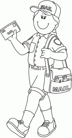 10 Pics of Mailman Community Helper Coloring Pages - Community ...