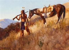 Jim Norton - Indian and horse, oil on board