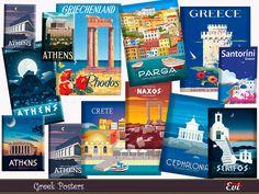 evi's Greek posters Greek House, Sims Community, Sims Resource, Santorini Greece, Electronic Art, Crete, Athens, Sims 4, Vintage Posters