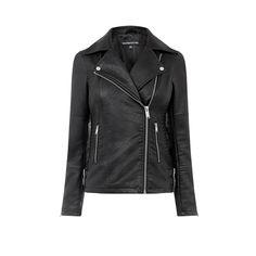 Warehouse, Faux Leather Biker Jacket Black £59