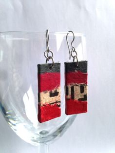 Red Charcoal Hanji Paper Dangle Earrings OOAK Patchwork Grey Red Beige Korean characters Hangeul Hypoallergenic hooks Lightweight