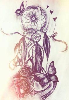 Tattoovorlage traumfänger Bleistiftzeichnung