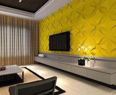 Wohnwand Deko Gelbe Wand Mit Dekorationen Schwarzer Fernseher Weiße Blumen  Sofa Kaffeetisch