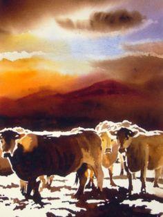 coucher-de-soleil.jpg (Painting),  60x80 cm par jean guy DAGNEAU ombres et lumières