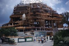 spacemountaineer:  The Matterhorn under construction at Disneyland in May 1959. Notice how the rock work is being completed from the top dow...