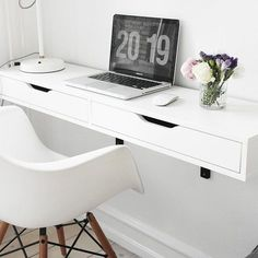 One of our favorite space-saving tricks for a small apartment is the wall-mounted desk. A wall-mounted desk is an easy way to add a work area that takes up a fraction of the space occupied by a traditional floor-bound desk — and it results in a lot less v Desks For Small Spaces, Small Apartments, Small Desk Space, Small White Desk, Space Saving Desk, Studio Apartments, Kid Spaces, Ikea Ekby, Best Desk
