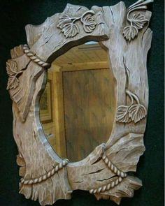 Зеркало в деревянной резной раме для бани.Липа, Морилка , без лака .56Х45см.