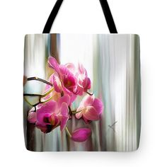 """Morning Light Orchids Tote Bag (18"""" x 18"""") by Sand And Chi  .  The tote bag is machine washable, available in three different sizes, and includes a black strap for easy carrying on your shoulder.  All totes are available for worldwide shipping and include a money-back guarantee."""