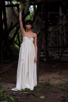 RESERVED Wedding Dress Country Love Strapless  In Natural Cotton- Limited Item. $175.00, via Etsy.
