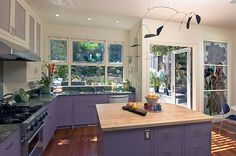 A colorful splash of purple in the kitchen