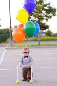 """You can't make a costume any more simple–not to mention adorable–€""""than this. Just give your kid some balloons, glasses, and a PVC pipe walker."""