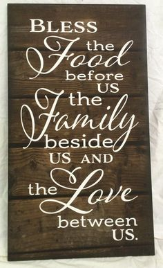Bless the Food Before Us The Family Beside Us and the Love between Us Wood Sign Canvas Wall Art Thanksgiving Christmas - Heartland Canvas and Signs Thanksgiving Crafts, Thanksgiving Decorations, Fall Crafts, Thanksgiving Sayings, Happy Thanksgiving, Thanksgiving Hostess Gifts, Christmas Quotations, Thanksgiving Blessing, Farm Decorations