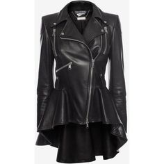 Solid colour Lapel collar Long sleeves Zipped cuffs Multipockets Zip Lined interior. Zip detail biker jacket in grainy leather. Peplum waist with frock detai…