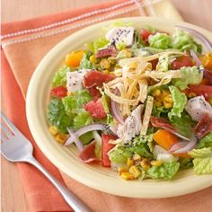 This salad recipe is a great option for leftover turkey. Served over chopped romaine with corn, bell pepper and tortilla strips and tossed in citrus-poppy seed dressing, this Mexican-inspired salad is a perfect choice for a quick lunch. Chopped Salad Recipes, Healthy Salad Recipes, Diabetic Recipes, Turkey Chops, Chicken Salad With Apples, Apple Chicken, Poppy Seed Dressing, Turkey Salad, Orange Salad