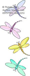 Clip Art Illustration of Dragonflies in Pastel Colors