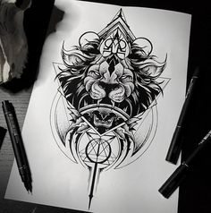 Blackwork Lion Themed Sketch From Otheser! #blackwork #dotwork #lion #design #sketch #artwork #dotism #geometry