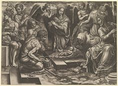 The Nativity Artist: Engraved by Giorgio Ghisi (Italian, Mantua ca. 1520–1582 Mantua) Artist: After Bronzino (Agnolo di Cosimo di Mariano) (Italian, Monticelli 1503–1572 Florence) Publisher: Published by Hieronymus Cock (Netherlandish, Antwerp ca. 1510–1570 Antwerp) Date: 1553 Medium: Engraving