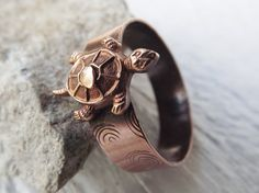 Cute solid copper turtle riveted ring size 12 free by Amayeli, $18.00