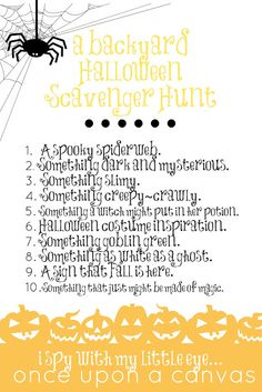 Once Upon a Canvas ~ Everyday Art & Creativity for Children & Families: I SPY: A Halloween Nature Scavenger Hunt