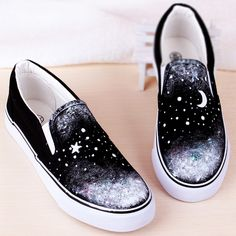 Moon stars black hand-painted shoes Black Shoe Paint 14c7d5187