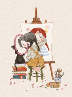 Image shared by Naty. Find images and videos about girl, art and cat on We Heart It - the app to get lost in what you love. Art And Illustration, Illustration Inspiration, Illustrations And Posters, Korean Art, Cute Drawings, Cat Art, Art Sketches, Anime Art, Canvas Art