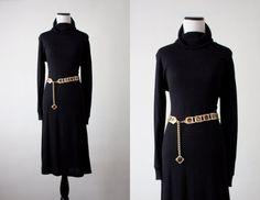vintage 1970s black turtleneck sweater dress on Etsy, $35.00