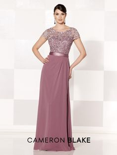 Cameron Blake - 215625 -     Chiffon and lace A-line gown with lace illusion short sleeves and scoop neckline, sweetheart bodice, lace illusion back, satin ribbon at natural waist, side draped skirt. Matching shawl included.  Sizes: 4 – 20      Colors: Dark Blue, Silver, Rose, Royal Blue, Mauve, Green