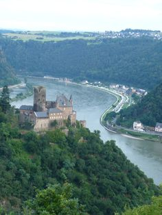 In Germany overlooking a Castle and the Rhine river, it's truly like a castle in a fairy tale! I am pretty sure Ollie and I traveled this road between Koln and Frankfurt before! Spectacular!