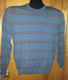Brooks Brothers Extra Fine Merino Wool Gray Brown Striped Crewneck Sweater L Euc #BrooksBrothers #Crewneck $47 OBO Free Shipping!