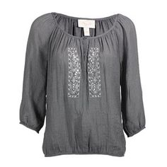 Shyanne® Women's Sequin Keyhole Peasant Blouse