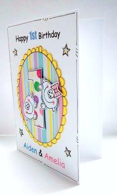 Birthday Card  Twins Birthday  1st  by CraftyMushroomCards on Etsy