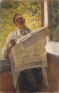 Lendo o jornal (1905, Museu José Malhoa, Caldas da Rainha), José Malhoa