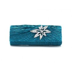 Dazzling Elegant Flower Rhinestone Handbag, Wedding Party Clutch Purse Chain Bag-Sea Blue