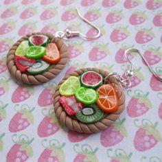 Fruit tart polymer clay earrings by Carols Crafts. Ha-ha-ha, for when you feel like a tart!
