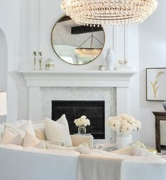 Great Images white Fireplace Mantels Ideas Beautiful white living room with an elegant white fireplace surround Glam Living Room, Living Room Update, Elegant Living Room, Living Room White, White Rooms, Living Room Modern, Living Room Interior, Living Room Designs, Living Area