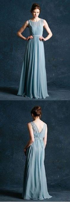 sleeveless bateau neckline long ruched chiffon bridesmaid dress