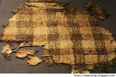 A piece of cloth found on the ship Osebergskom. (And now no one can argue against Vikings wearing plaids.) Viking ship artefacts found in Bygdoy, Norway. Some are now in the Museum of Cultural History. *Possibly a new museum is to be built in Bygdøy in Oslo, Norway. Some items are too fragile to be moved. Info = www.tv2.no/...