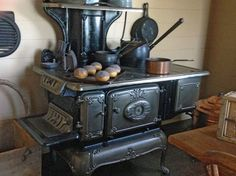 """This stove is in the kitchen of the """"Old Prairie Home"""" at the George Ranch Historical Park. Antique Kitchen Stoves, Antique Wood Stove, Old Kitchen, How To Antique Wood, Cuisinières Antiques, Alter Herd, Wood Stove Cooking, Old Stove, Cast Iron Stove"""