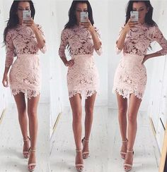 Fancy Scalloped Neck 3/4 Sleeves Pink Sheath Lace Homecoming Dress,Tight prom dress,Short dress,Sexy prom dress