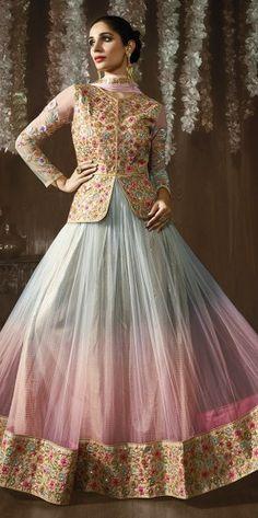 Beige Wedding Wear Anarkali Suit With Embroidered Work