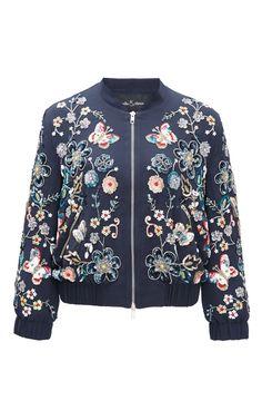 Butterfly Garden Bomber Jacket by NEEDLE & THREAD for Preorder on Moda Operandi