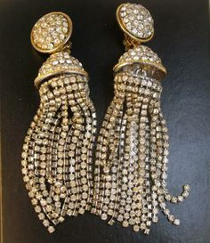 Glamorous Rhinestone Shoulder Duster Earrings