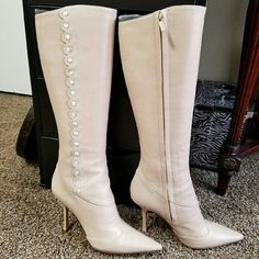 Gorgeous Jimmy Choo pointed heel boots 100% authentic. Comes with dust bag! Great condition only wear on the sole shown on 2nd pic. New heel tips. Made in italy. Eur 38.5 US 8.5. Perfect for small calves. Very unique with pearlized detail. Jimmy Choo Shoes Heeled Boots