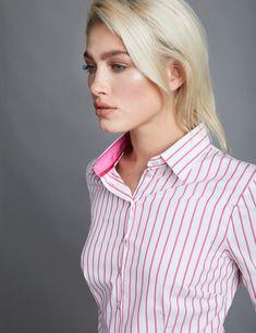 faa293dd9ef Women s White   Pink Bengal Stripe Fitted Shirt - Single Cuff