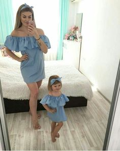 Family Dresses Mother Daughter Matching Summer Baby Girl Dress Clothes Outfit - It's a Girl Mother Daughter Matching Outfits, Mother Daughter Fashion, Mommy And Me Outfits, Matching Family Outfits, Baby Outfits, Mother And Daughter Clothes, Summer Outfits, Matching Clothes, Baby Kind