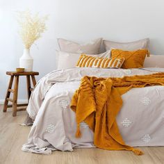Made with yarn-dyed cotton, this beautiful quilt cover set features beautiful diamond-shaped applique detailing, perfect for adding subtle texture to your bedroom. Cotton Box, Linens And More, Subtle Textures, Quilt Cover Sets, Close To Home, Neutral Colour Palette, Linen Bedding, Blanket, Bedroom