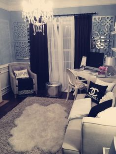 Small living room design minus the Chanel branding